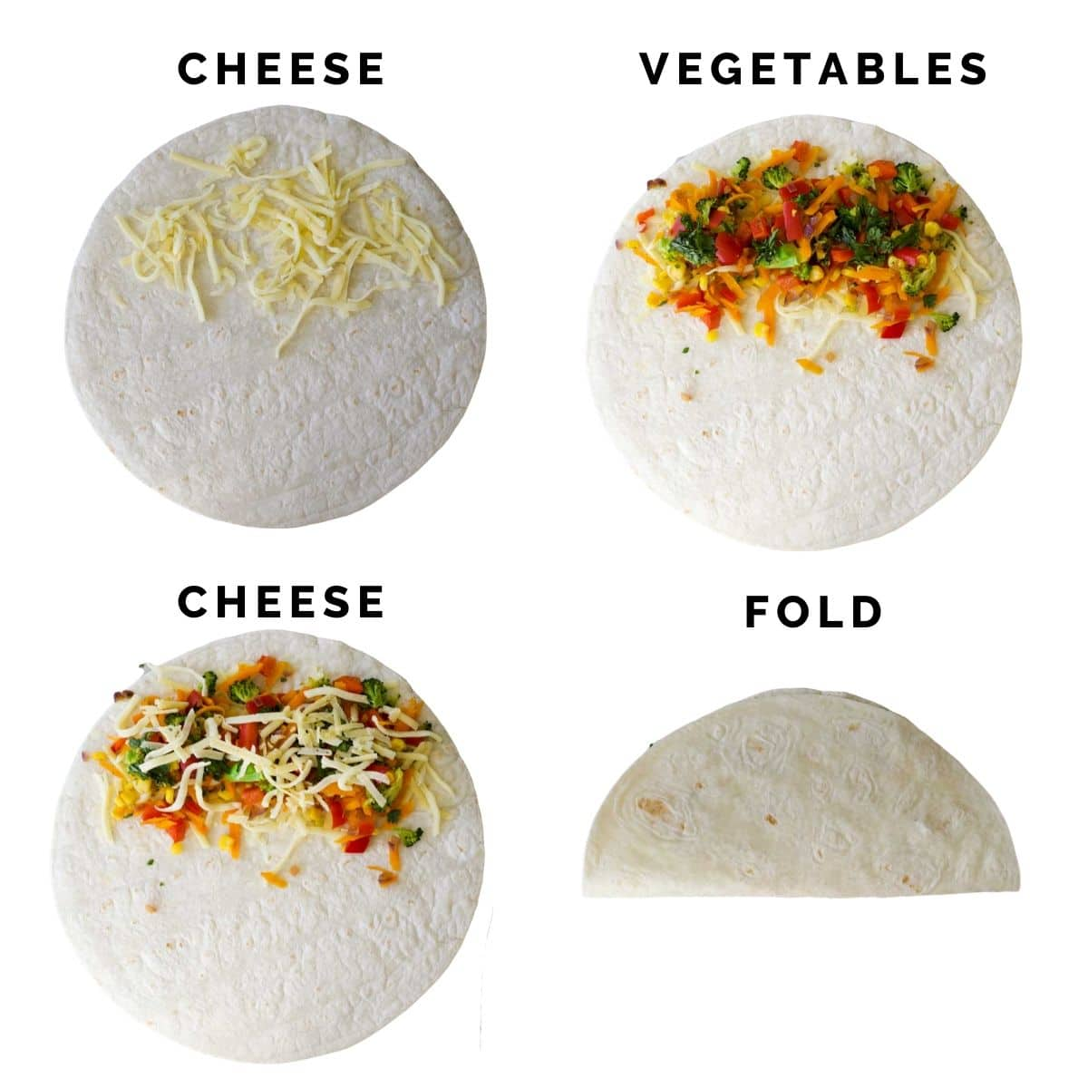 4 Images Showing the Different Step of Folding Vegetable Quesadillas