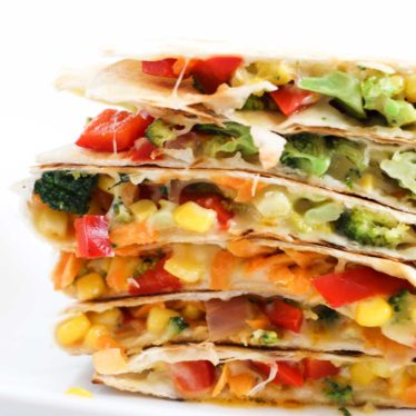 Side on Shot of Stack of Vegetable Quesadillas