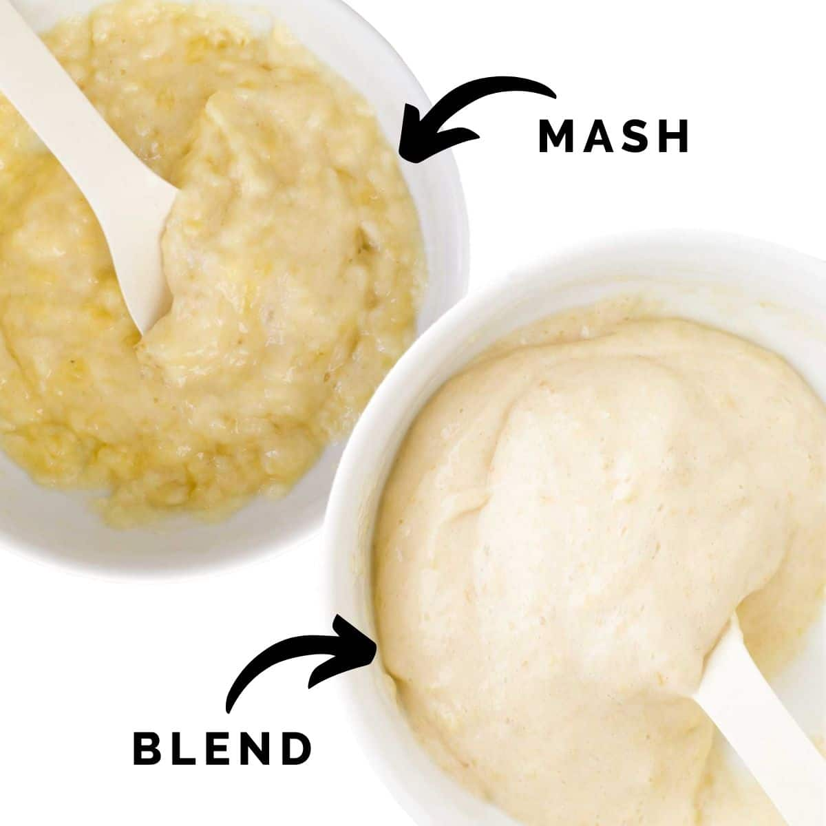 Image Showing Two Plates of Banana (One Pureed and the Other Mashed)