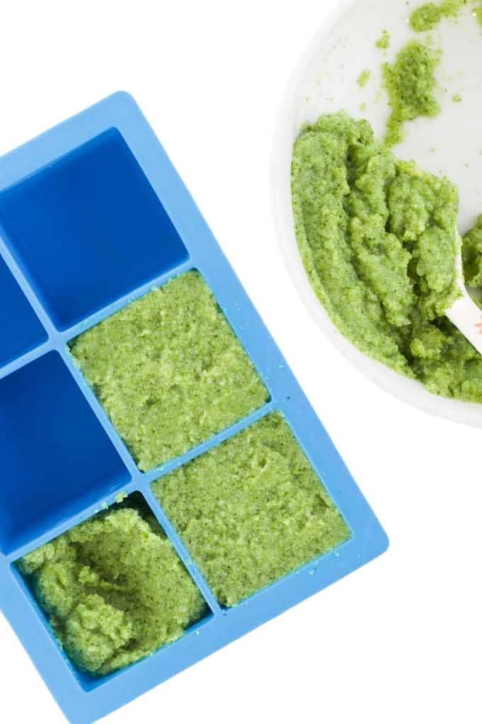 Broccoli Puree In Ice Cube Tray Ready to Freeze
