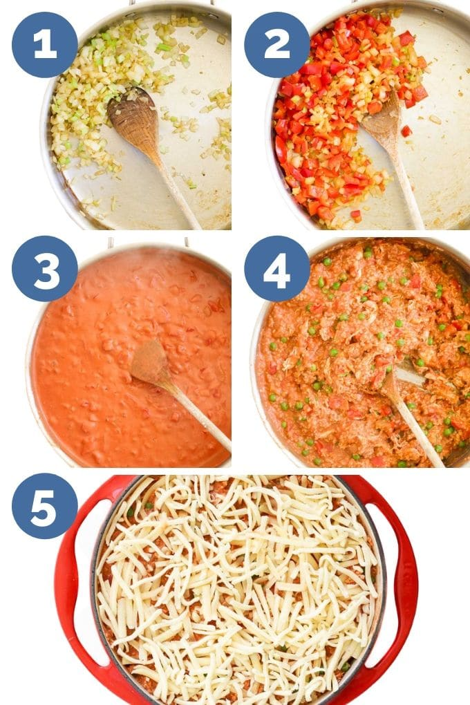 Collage of 5 Imaged Showing the Process Steps for How to Make Chicken Quinoa Bake