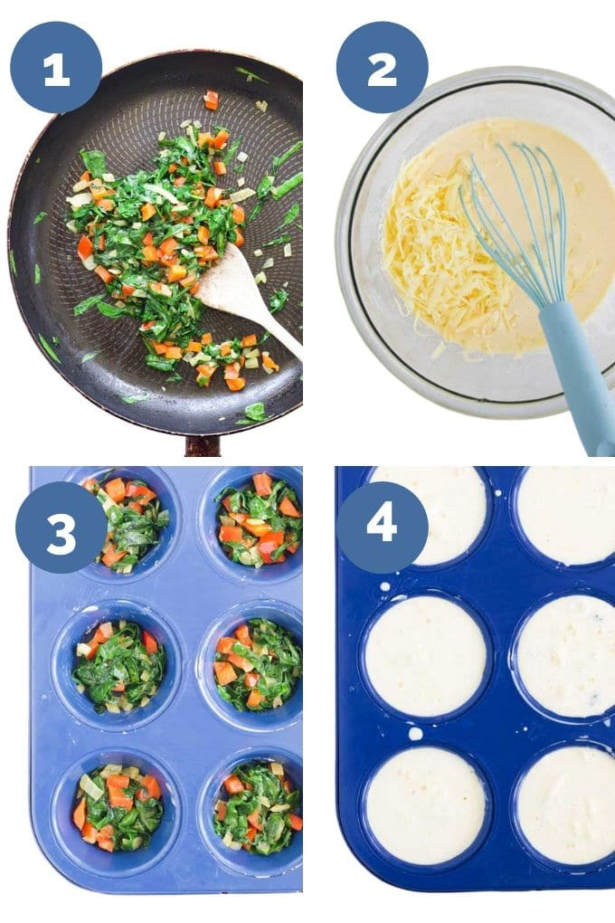 Collage of 4 Photos Showing Process Steps for Making Crustless Quiches