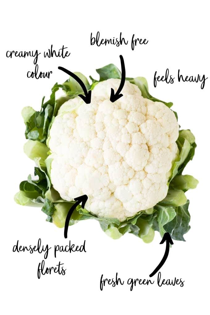 Image of a Cauliflower with Text and Arrows Highlighting What to Look for When Choosing a Cauliflower