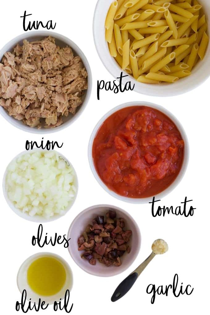 Ingredients for Tuna Tomato Pasta