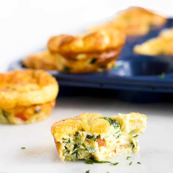 Side Shot of Crustless Quiche with Bite Taken Out