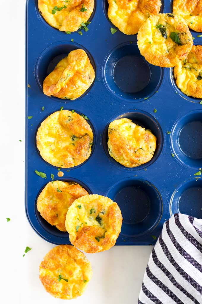 Crustless Quiches in Muffin Pan with Some Removed