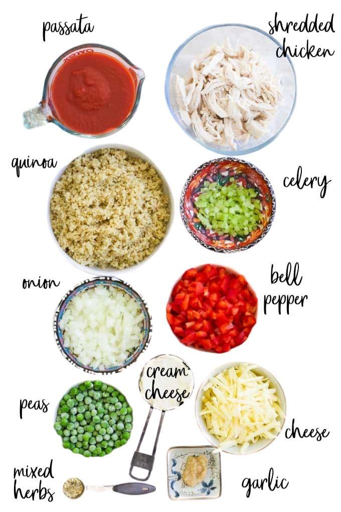 Ingredients for Chicken Quinoa Bake
