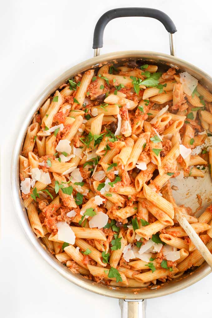 Top Down View of Tuna Tomato Pasta in Pan