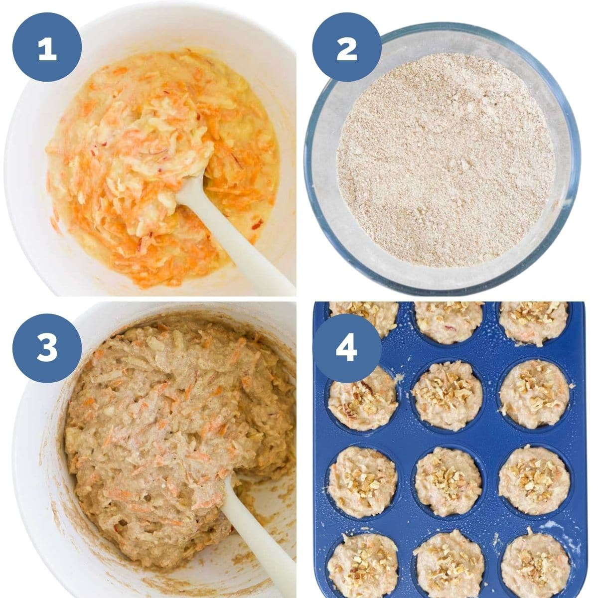 Collage of 4 Images Showing Process Steps for Making Carrot and Apple Muffins