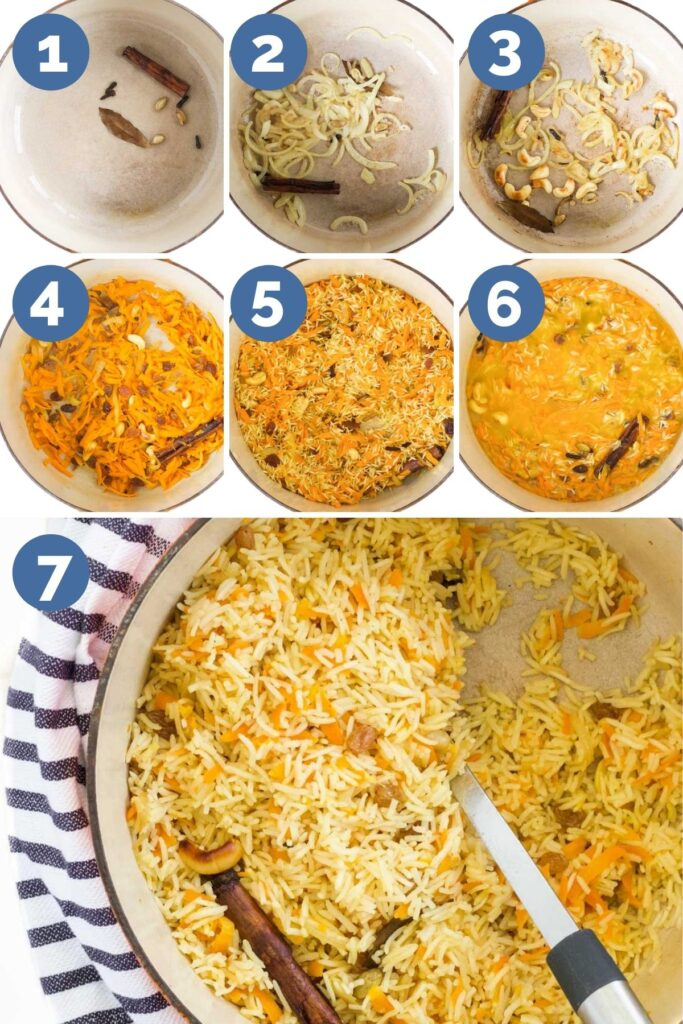 Collage of 7 Images Showing Process Steps for Making Carrot Rice