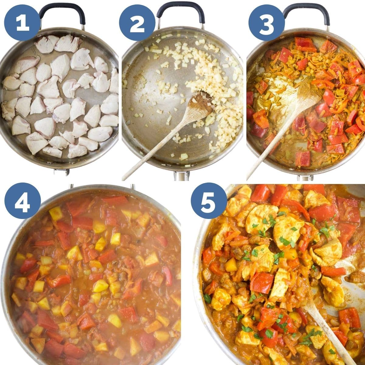 Collage of 5 Images Showing Process Steps to Making Chicken Curry for Kids