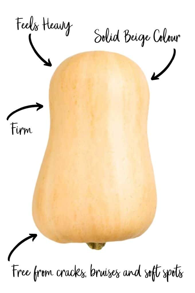 Picture of Butternut Squash with Arrows Showing What to Look For (Feels Heavy, Solid Beige Colour, Firm and Free from Bruises and Soft Spots)