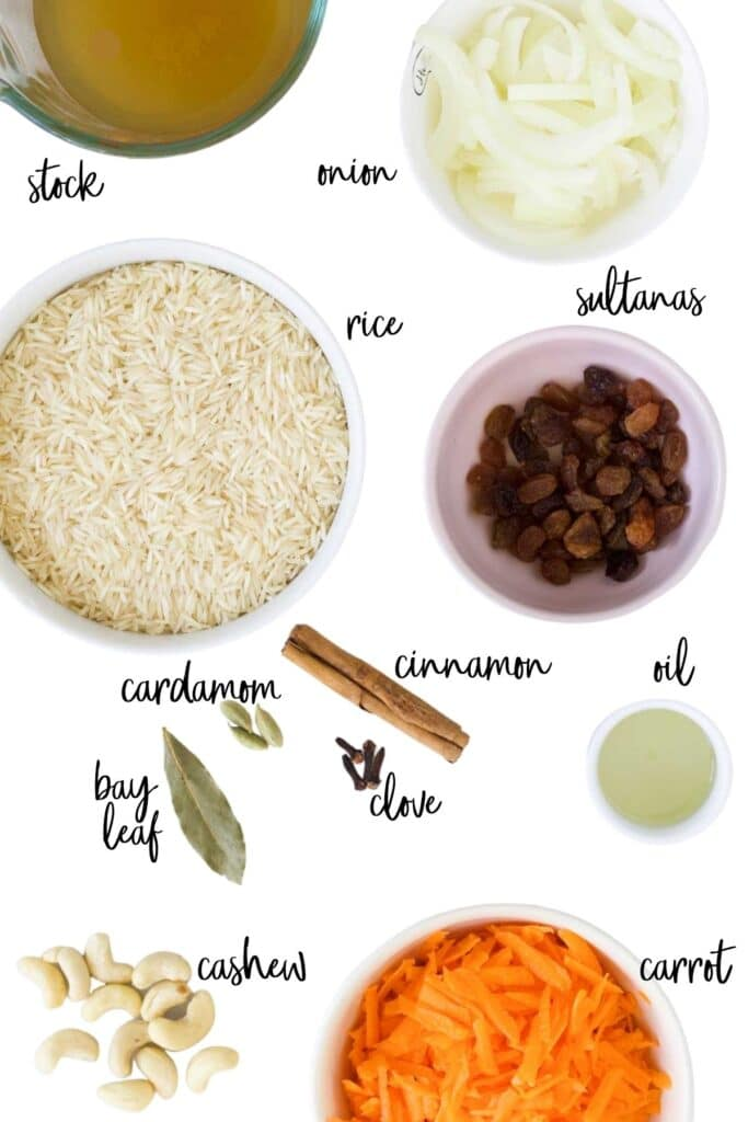 Top Down Shot of Ingredients to Make Carrot Rice