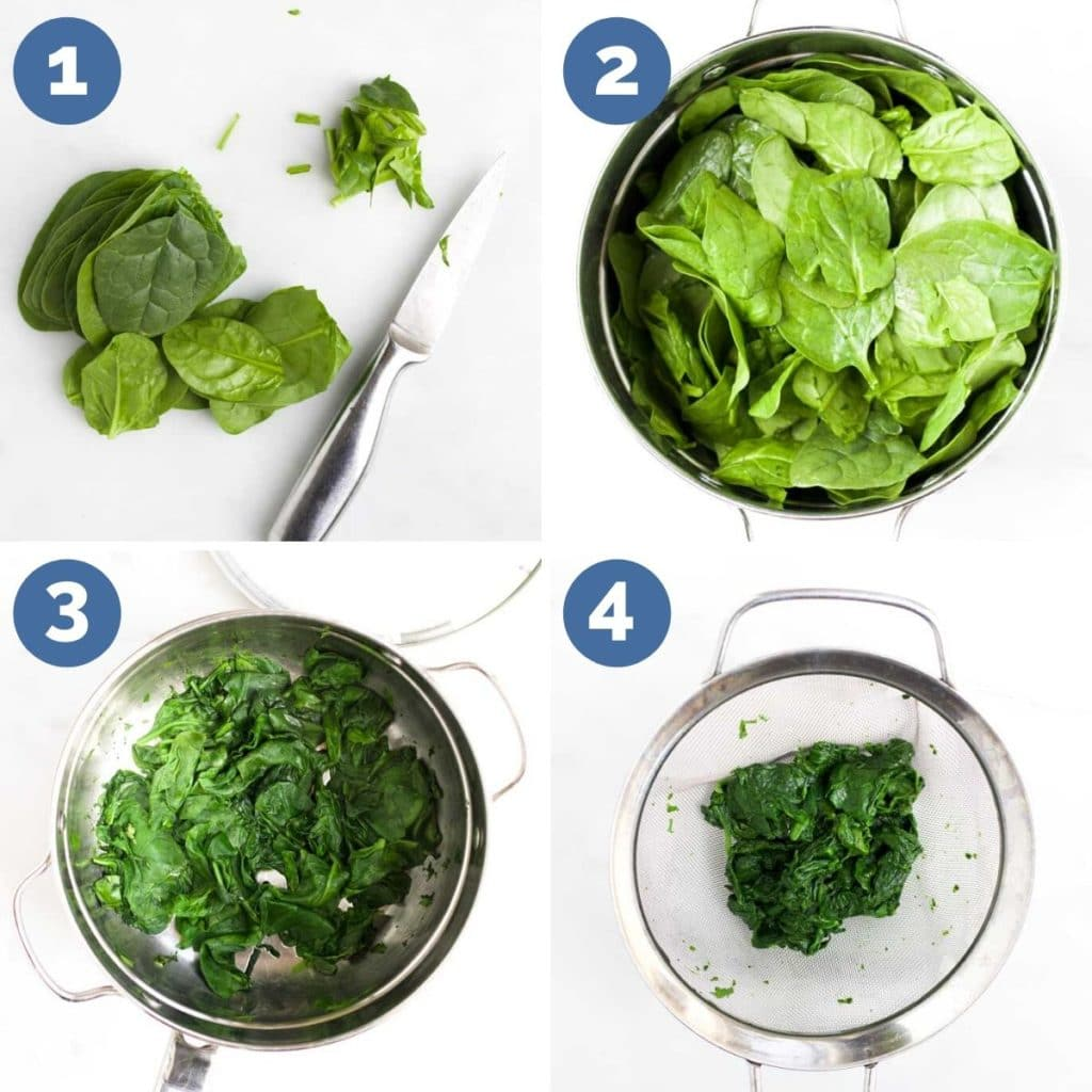Collage of 4 Images Showing Process Steps for Making Spinach Puree