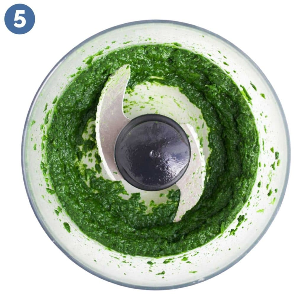Spinach Puree in Food Processor