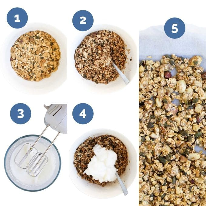 Collage of 5 Images Showing Process Steps to Make Sugar Free Granola