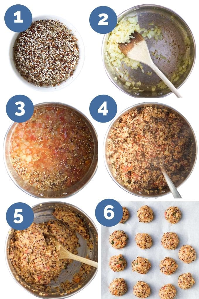 How to Make Quinoa Balls (Six Process Step Images)