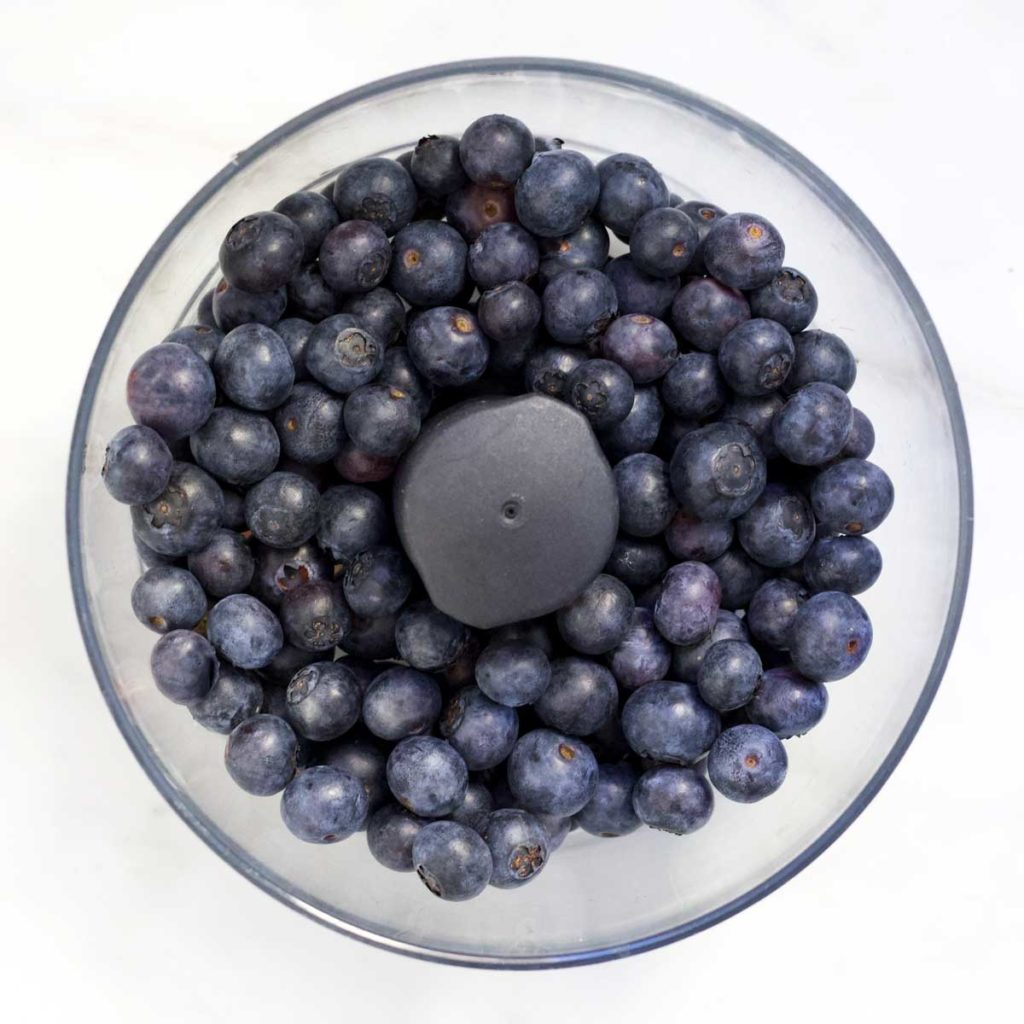 Whole Blueberries in Food Processor Bowl
