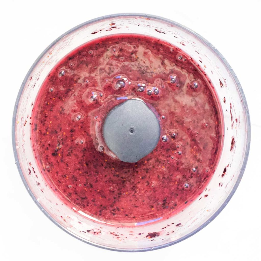 Blueberry Puree in Food Processor Bowl