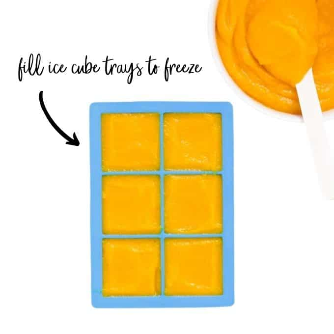 Butternut Squash in Ice Cube Tray for Freezing