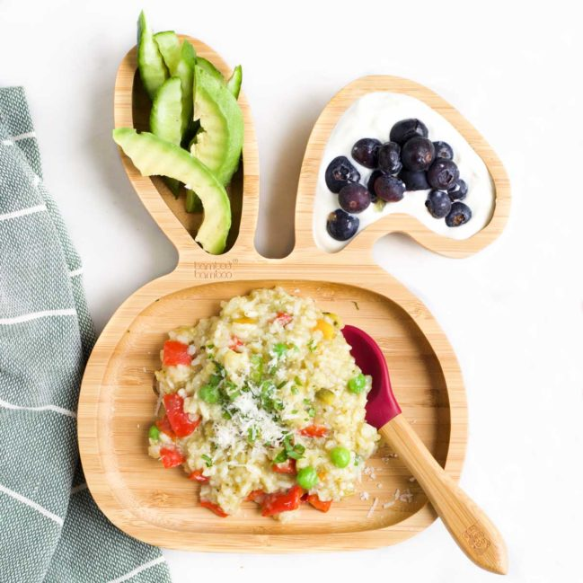 Slow Cooker Risotto on Toddler Plate Served with Veggie and Fruit