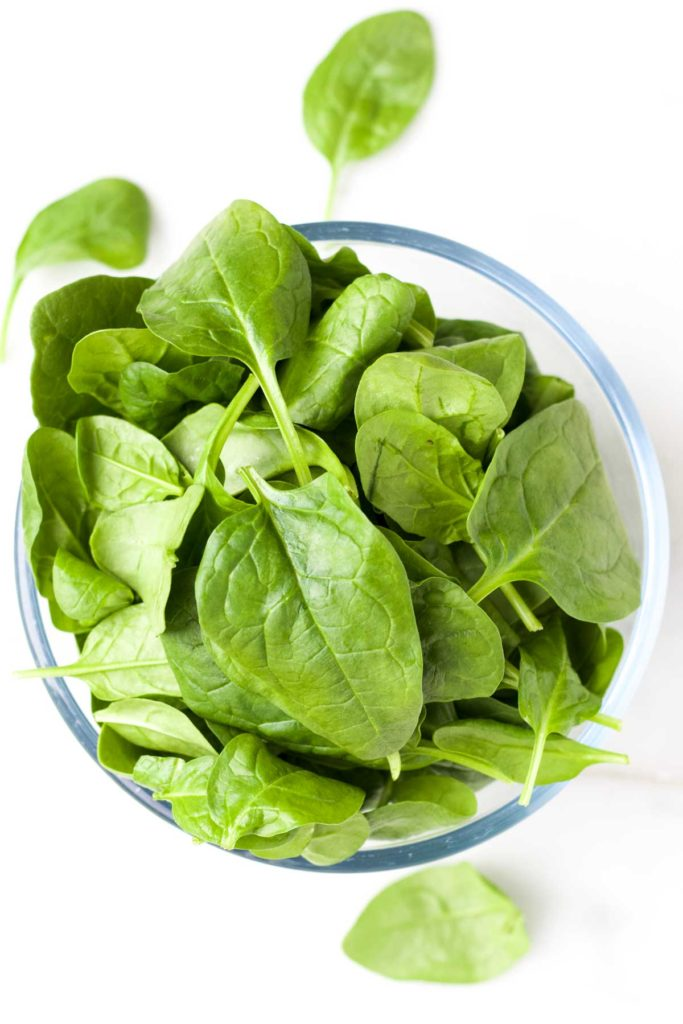 Top Down View of Spinach Leaves in Bowl