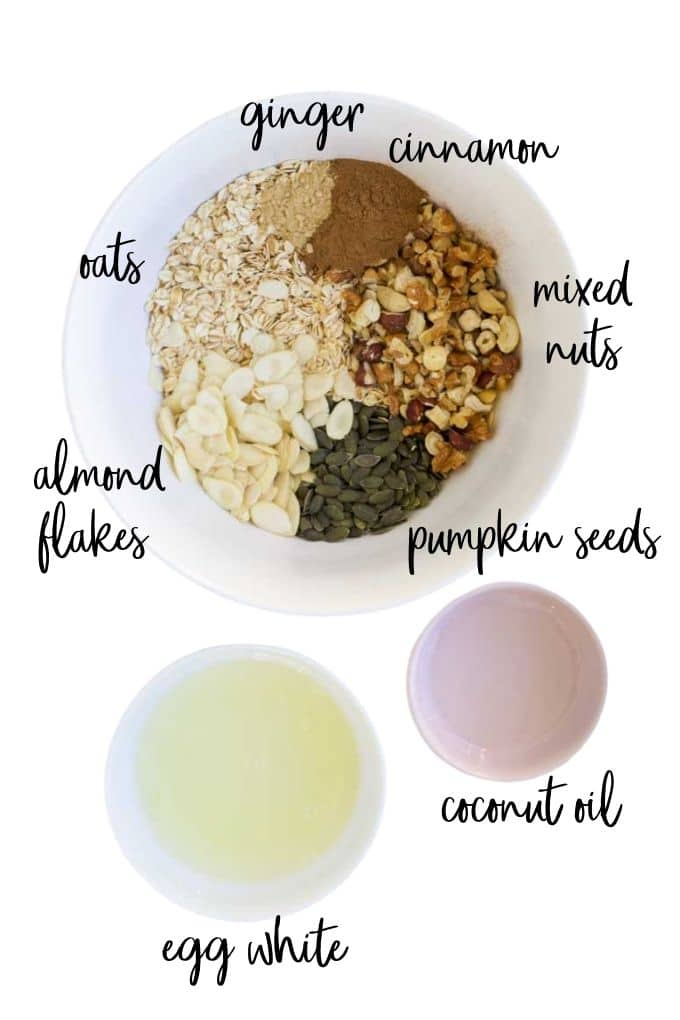 Top Down Shot of Sugar Free Granola Ingredients