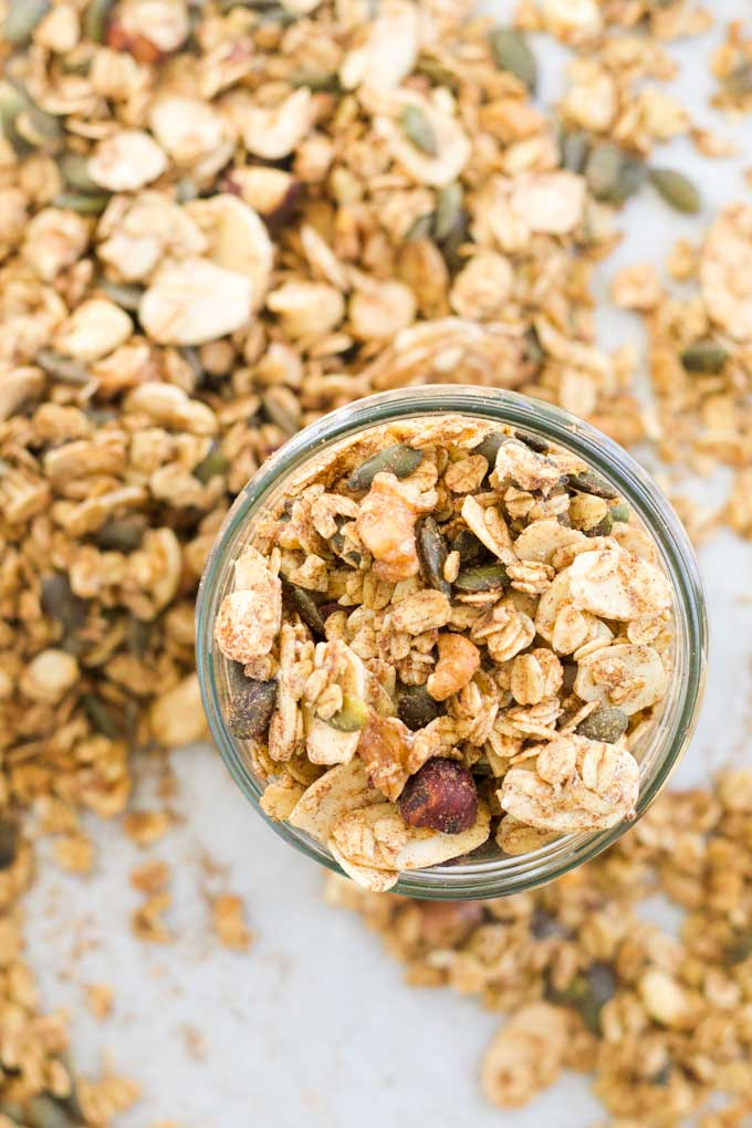 Sugar Free Granola in Glass Jar Sitting on Baking Tray