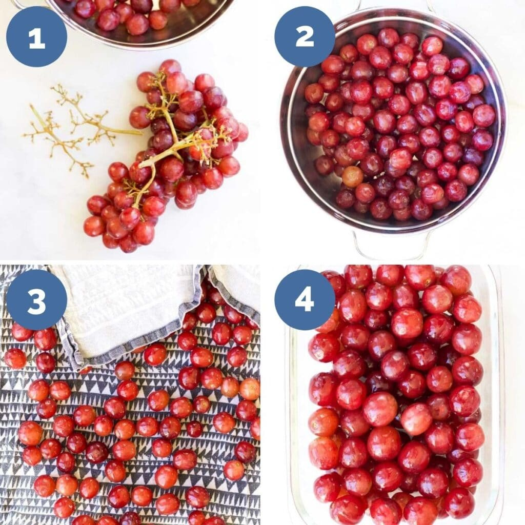 Collage of 4 Images Showing How to Make Frozen Grapes