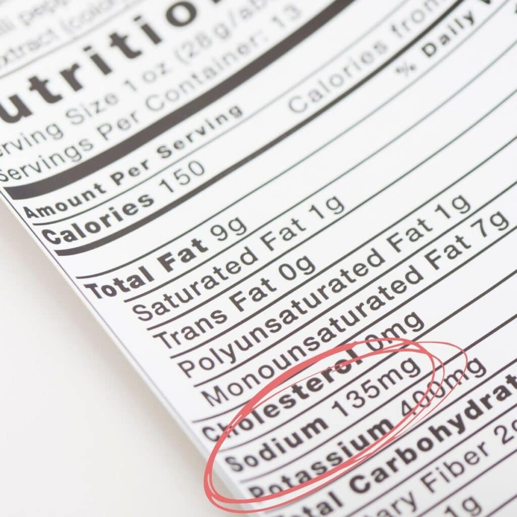 Nutrition Label with the Sodium Content Circled