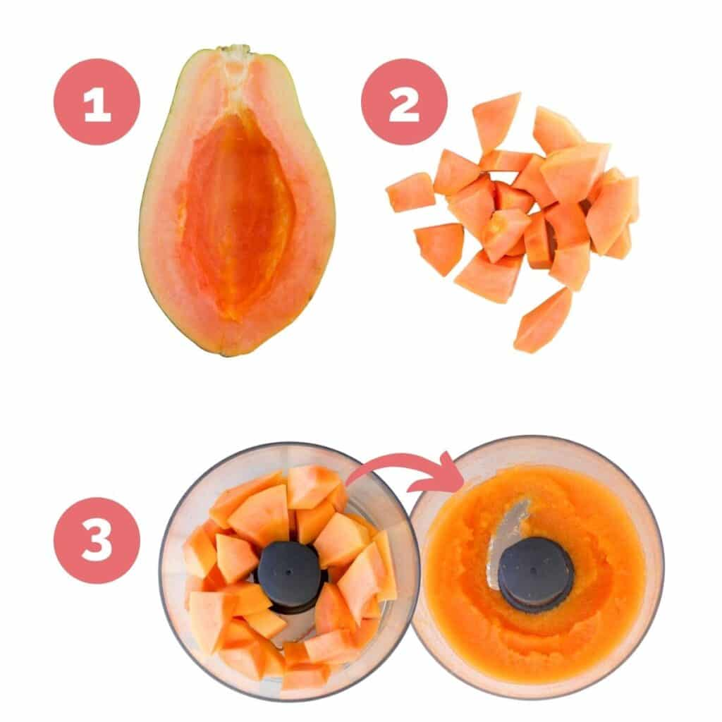 Collage of Images Showing the Process Steps for How to Make Papaya Puree