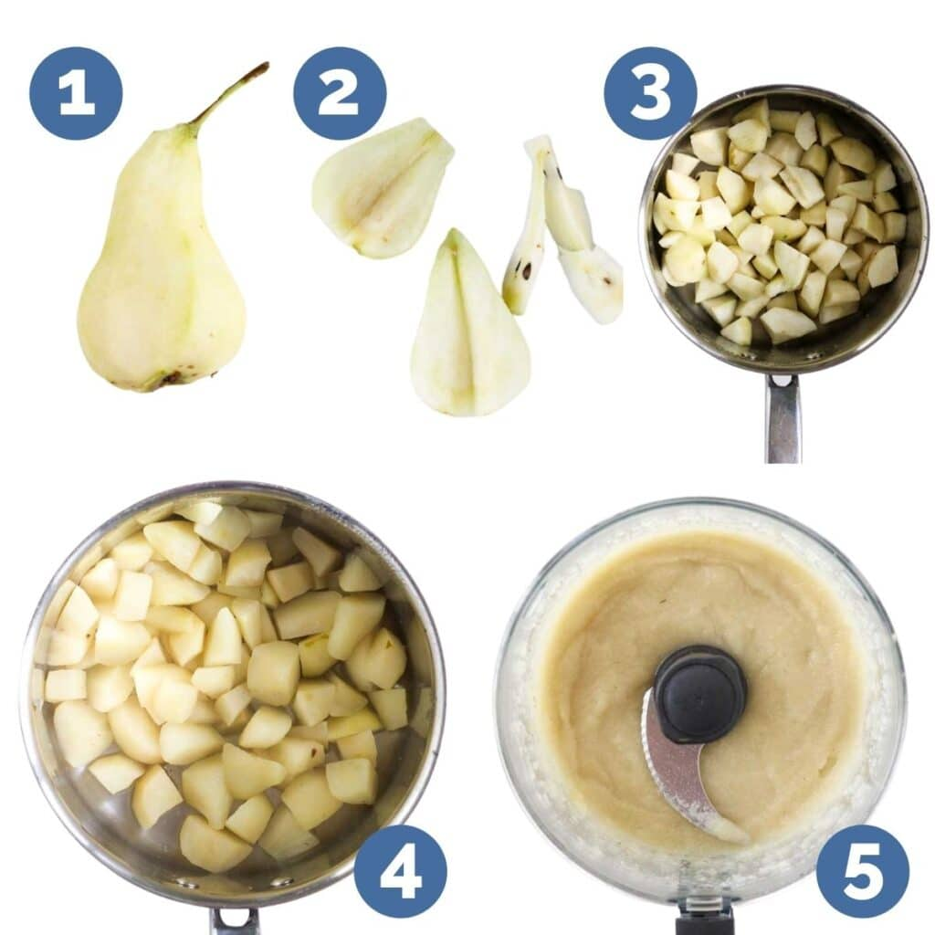 Collage of 5 Images Showing Process Steps To Making Pear Puree