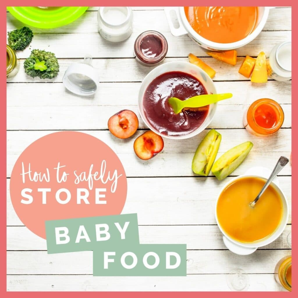 "Image of Fruit Purees and Pieces of Fruit in Top Right Corner with Text in Bottom Left Saying ""How to Safely Store Baby Food"""