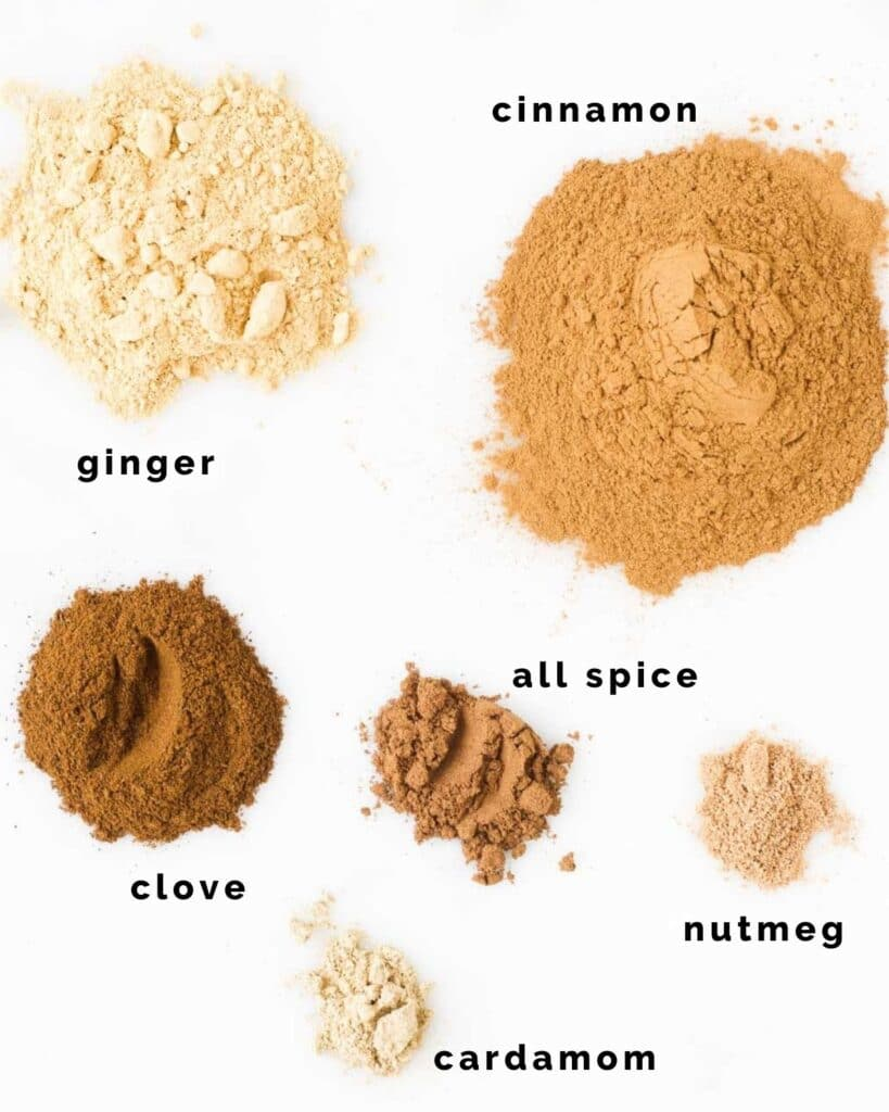 Topdown View of Spices used in  Gingerbread Spice
