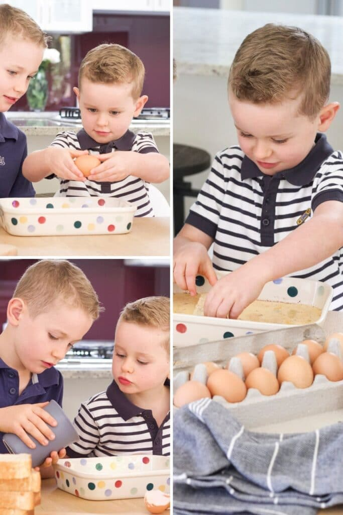 Collage of 3 Images of Two Boys Making Eggy Bread (1. Cracking Eggs, 2. Pouring Milk, 3. Dipping Bread in Egg Mixture)