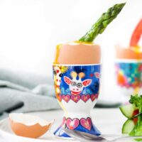 Asparagus Spear Dipped into Egg in Egg Cup