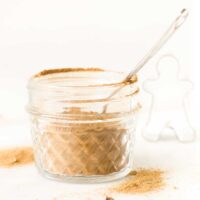 Side shot of Gingerbread Spice Mix in Glass Jar