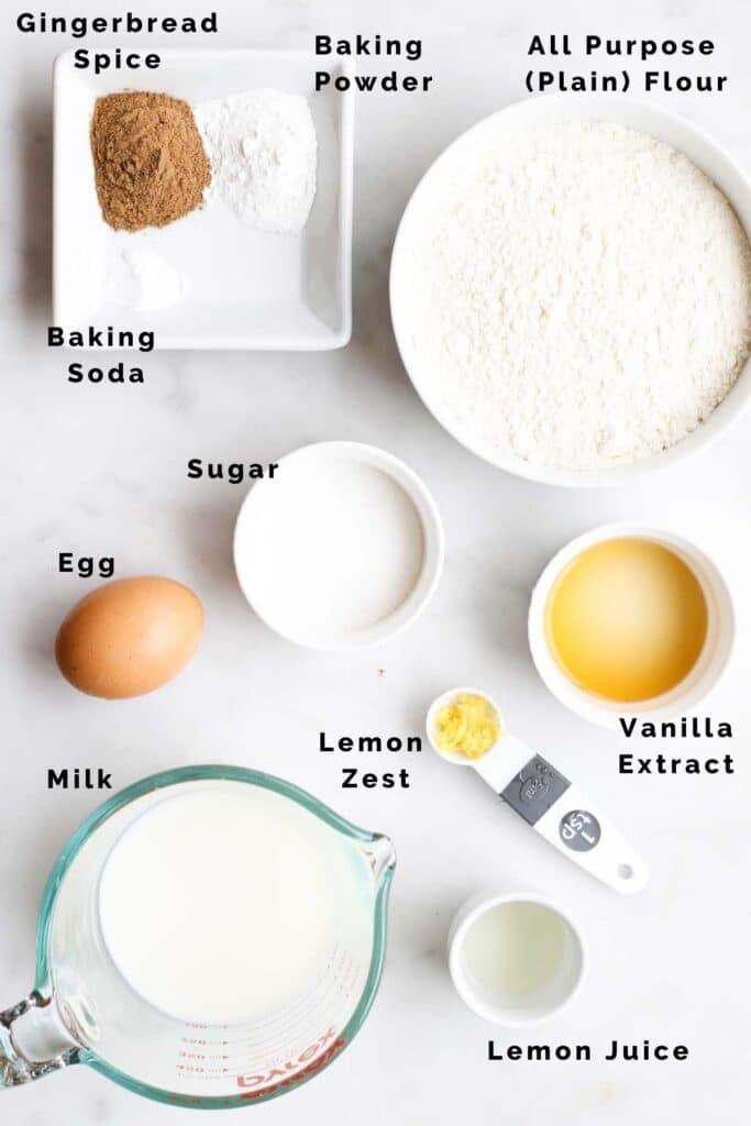 Top Down Shot of Ingredients to Make Christmas Pancakes