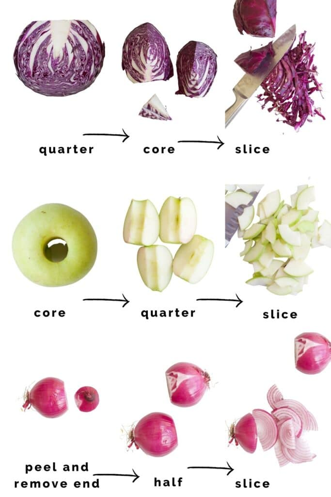 Images Showing How to Prepare the Cabbage, Apple and Onion for Red Cabbage and Apple