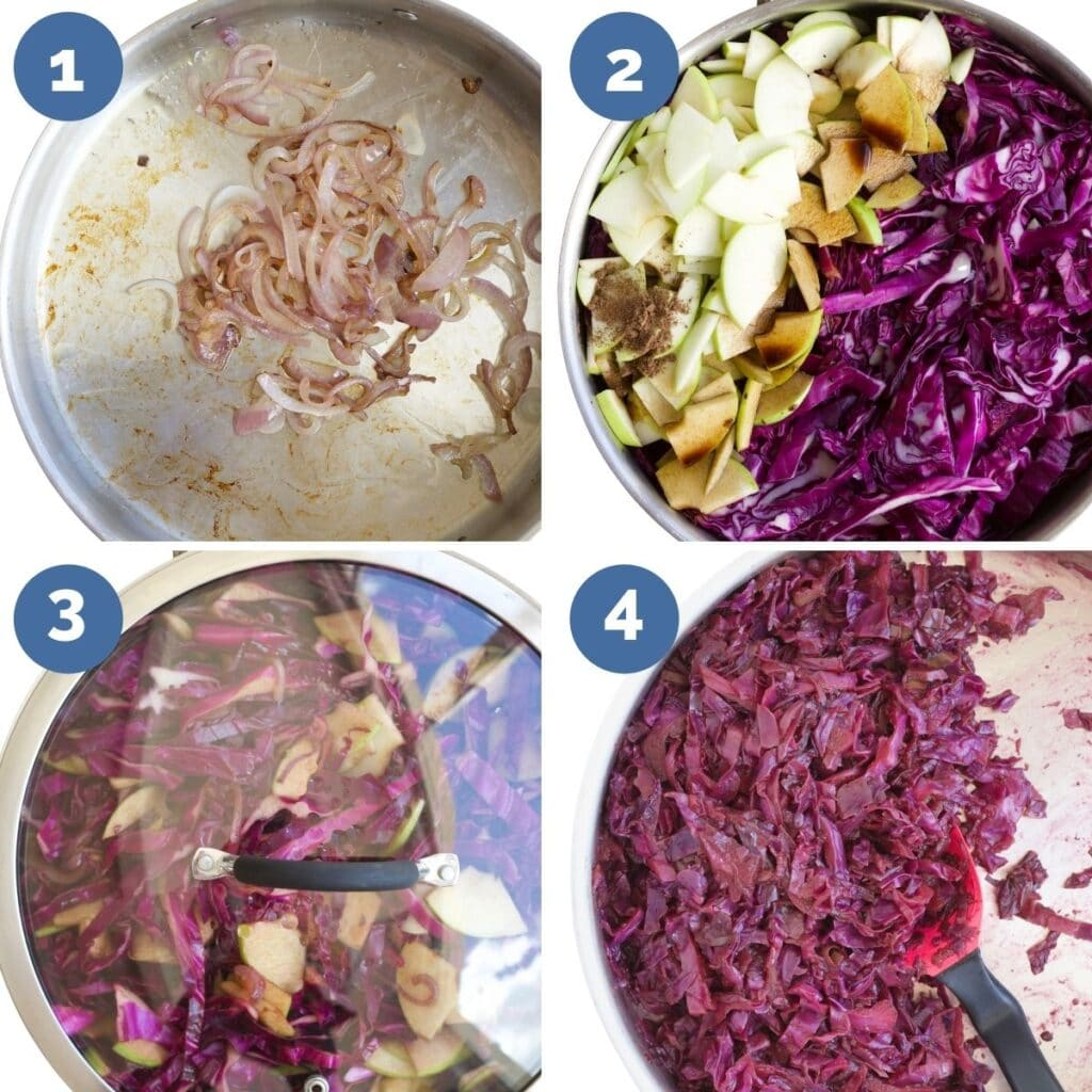 Collage of Four Images Showing The Different Cooking Steps of Red Cabbage and Apple. 1) Saute Onion, 2)Add Remaining Ingredients to Pan, 3)Stir and cover 4)Cook low for 1hr