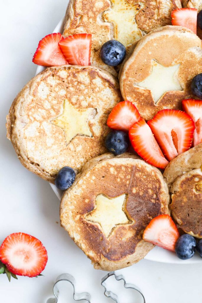 Platter of Christmas Pancakes with Strawberries and Blueberries