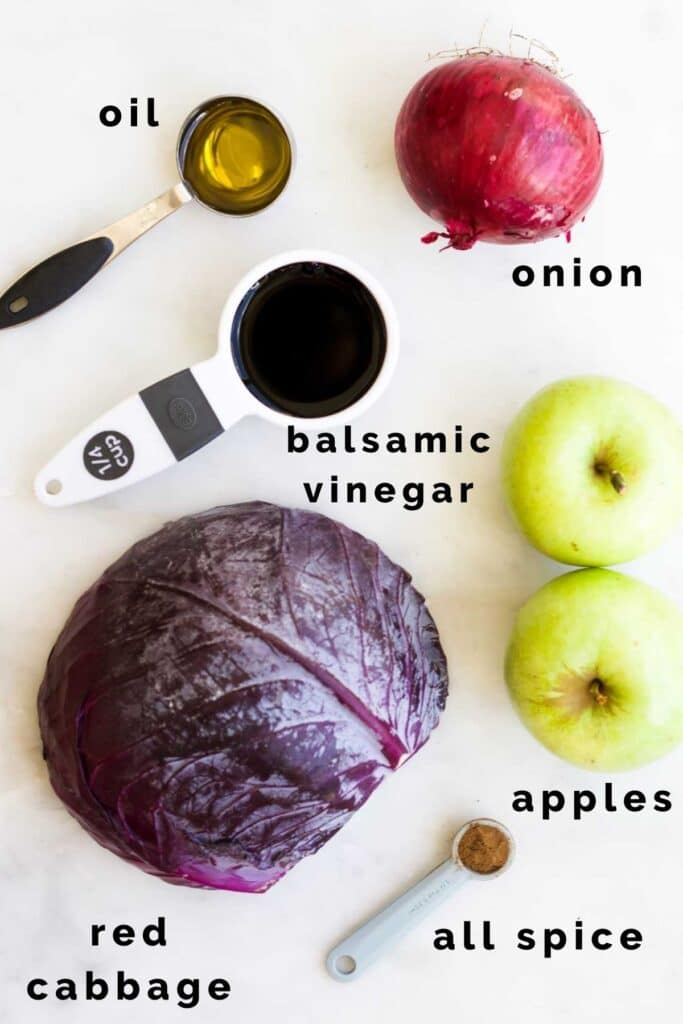 Top Down View of Ingredients Needed to Make Braised Red Cabbage and Apple