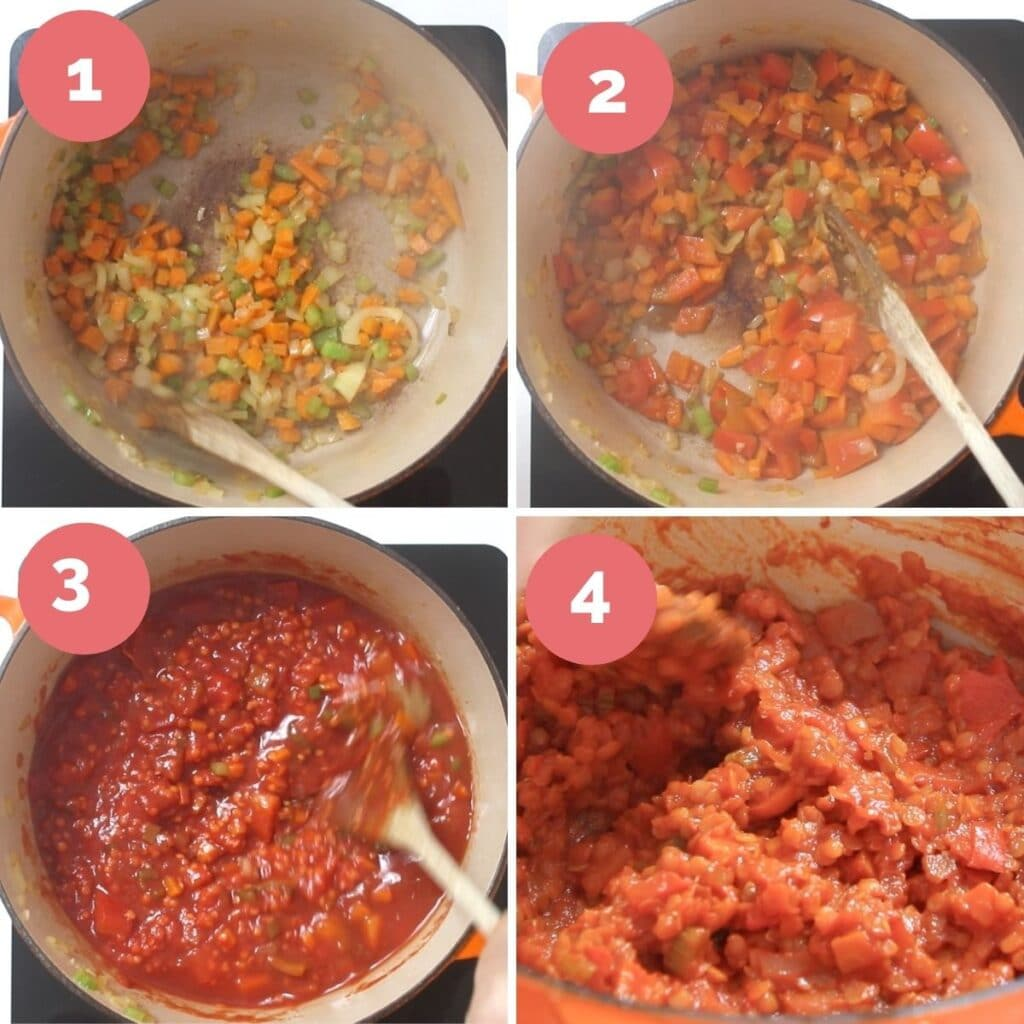 Collage of 4 Images Showing the Process Steps to Making Lentil Filling for Lasagne