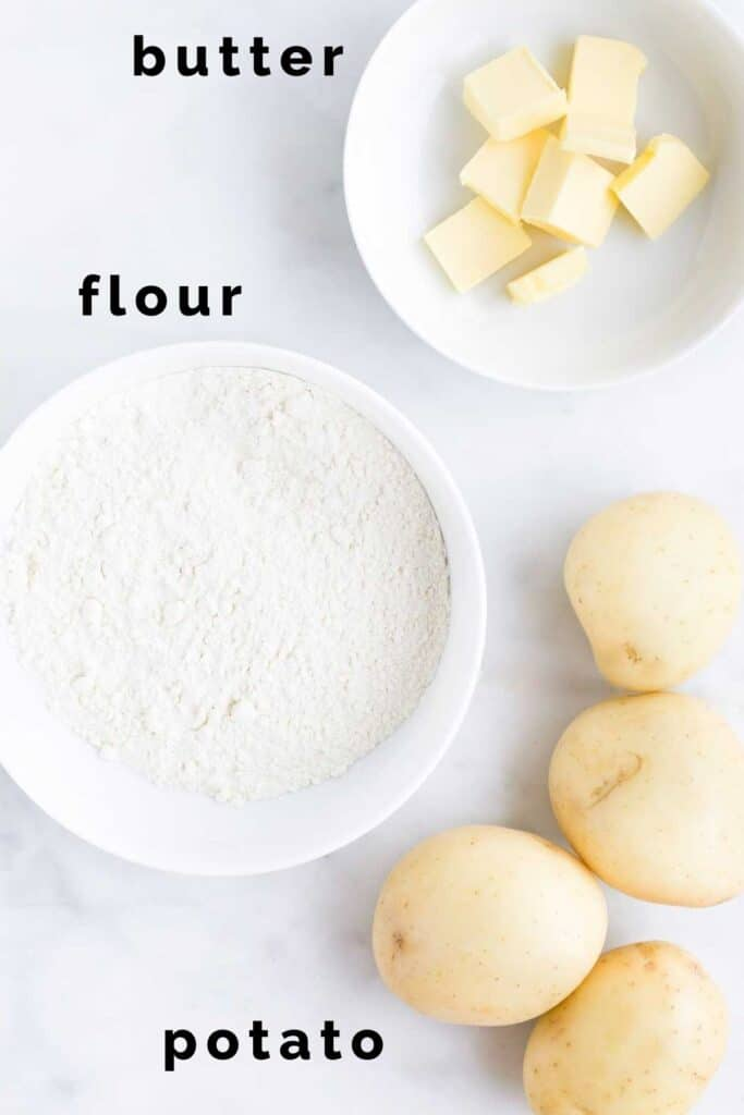 Flat lay of Ingredients Needed to Make Potato Scones