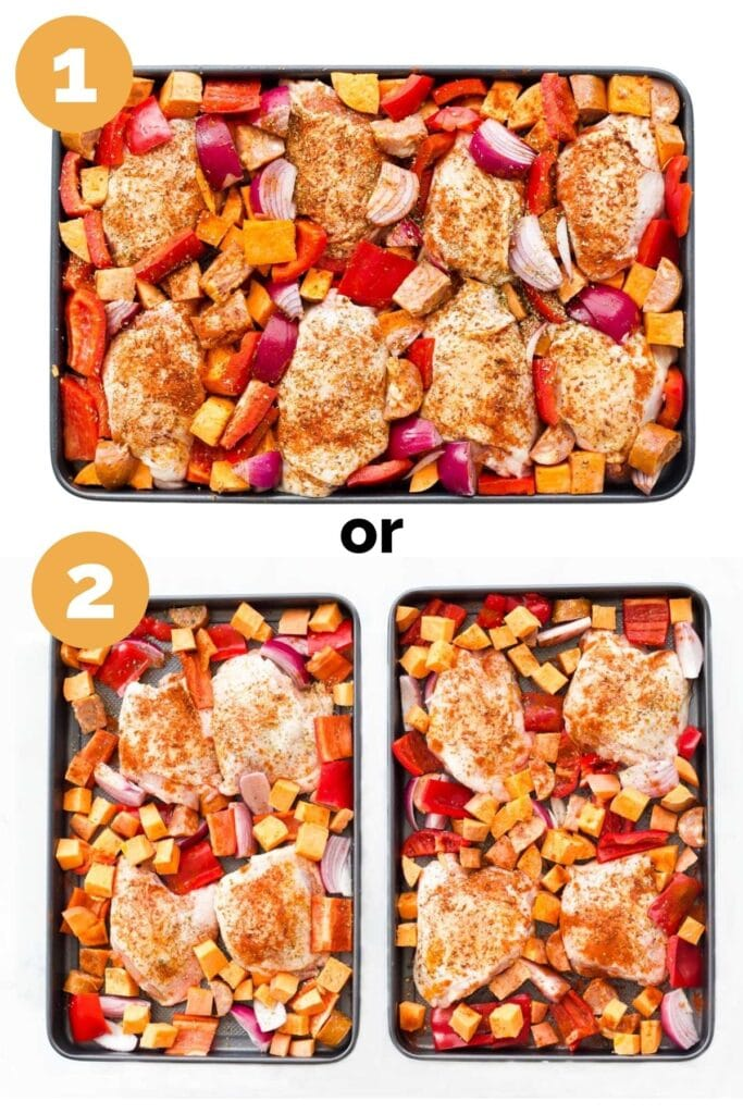 Collage of 2 Images Showing Chicken Tray Bake Ingredients in 1 Tray versus 2 Trays