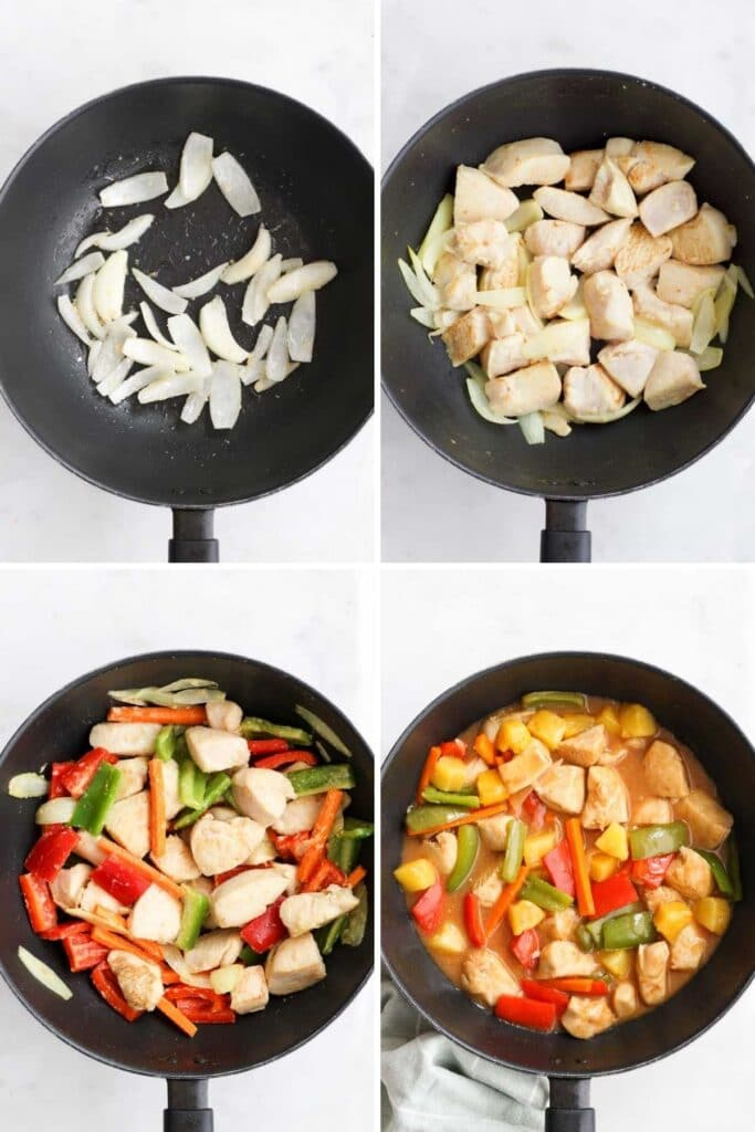 Collage of 4 Images Showing Process Steps for Making Sweet and Sour Chicken.