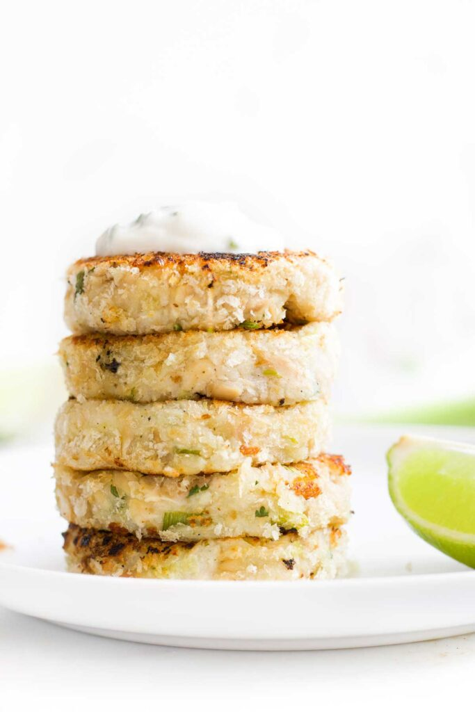 Side on View of Stack of Tuna Fish Cakes