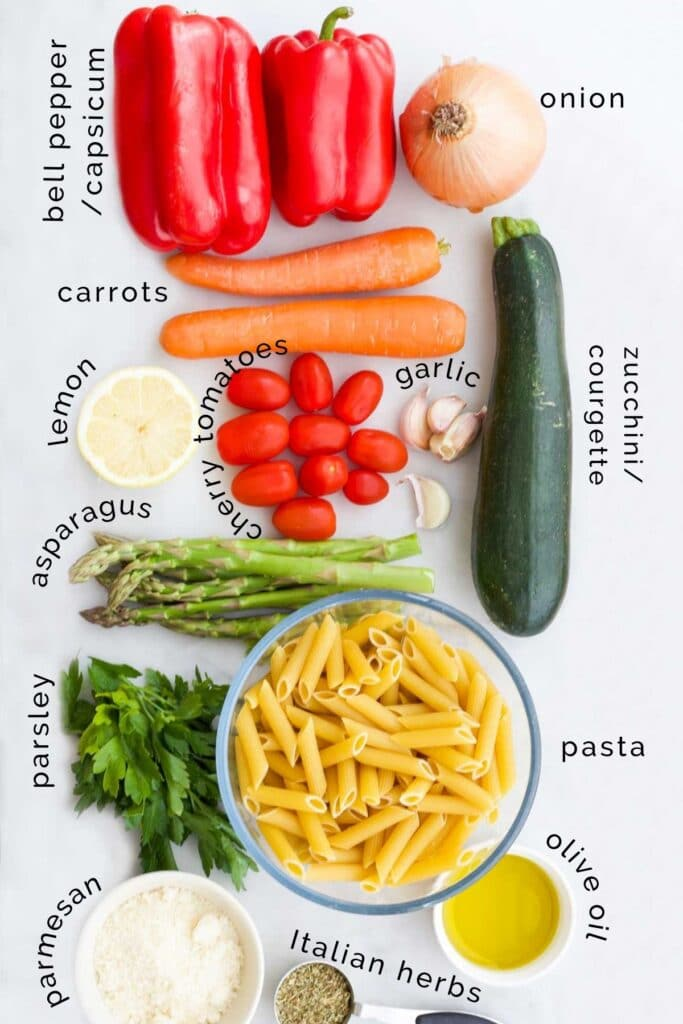 Flat Lay of Ingredients Needed to Make Roasted Vegetable Pasta