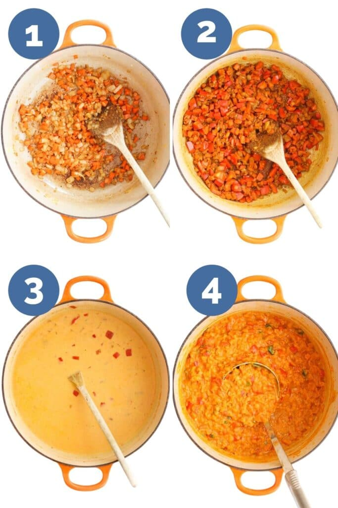 Collage of 4 Images Showing How to Make Lentil curry