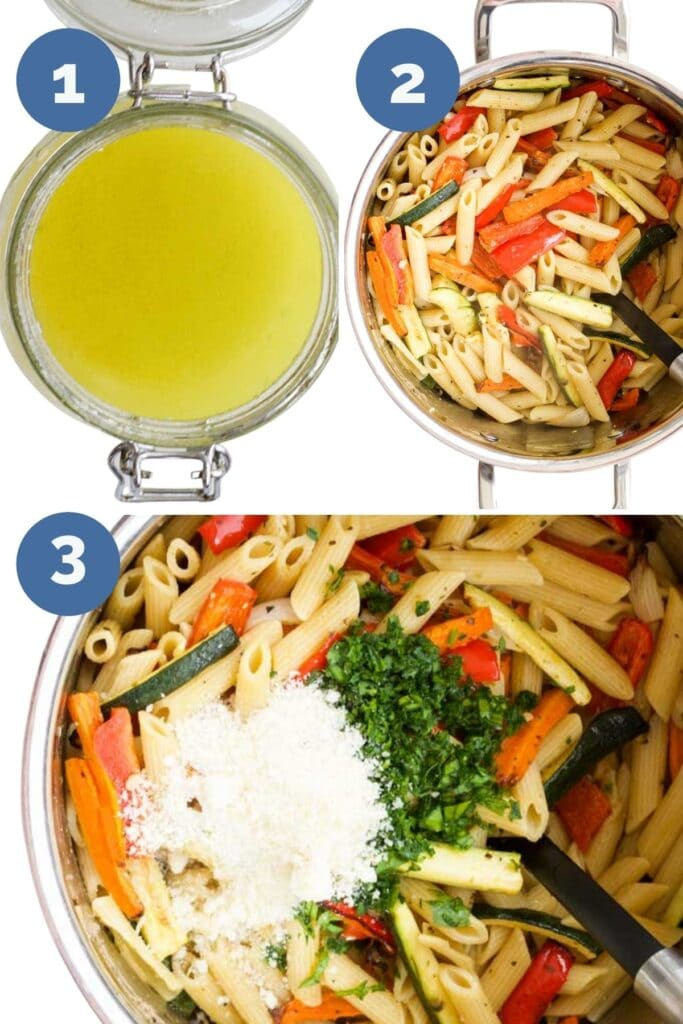 Collage of 3 Images Showing How to Make Roasted Veg Pasta